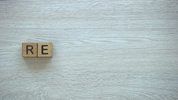 Thumbnail for Recycling, Stop Motion Word on Wooden Cubes, Environment Protection and Ecology
