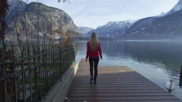 Thumbnail for Walking on a pontoon at Hallstatt Lake
