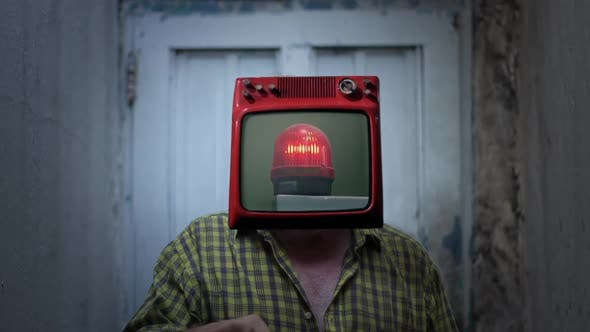 Retro TV Headed Man with Red Beacon on Screen.