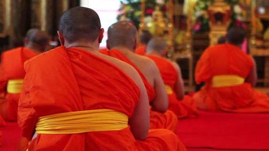 Thumbnail for Buddhist Monks Pray In Temple 4
