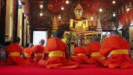 Thumbnail for Buddhist Monks Pray In Temple 3