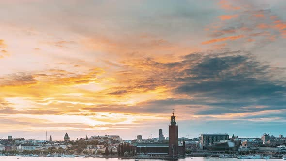 Stockholm, Sweden. Skyline Cityscape Famous View Of Old Town Gamla Stan In Summer Evening. Famous