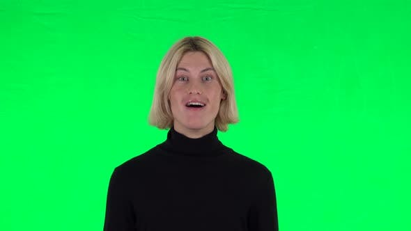 Thumbnail for Blonde Surprised Guy with Shocked Wow Face Expression. Green Screen