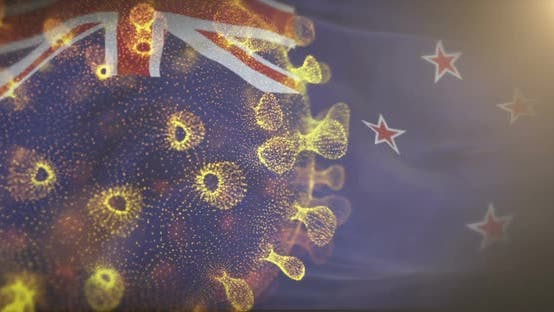 New Zealand Flag With Corona Virus Bacteria