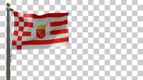 Thumbnail for Bremen Flag with Emblem on Flagpole with Alpha Channel