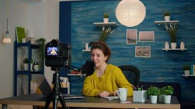 Influencer Sitting at Home Vlog Station
