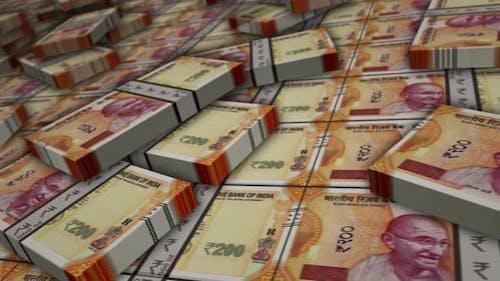 Indian rupee money banknote pack loop animation