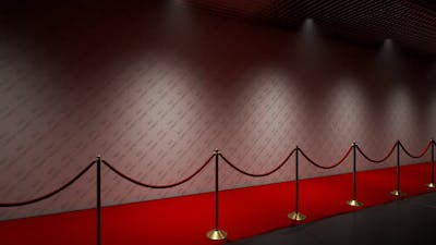 Seamless loop animation of a red carpet backdrop for photos. Camera flashes