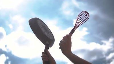 Man Hitting Saucepan in Protest