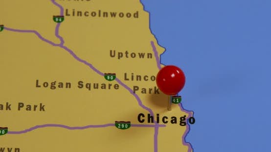 Pushpin On A Map Of Chicago 02