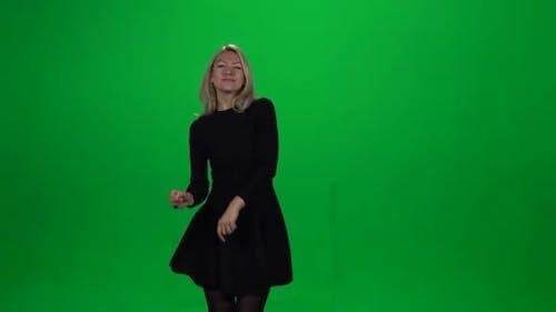 Girl Dancing. Green Screen.
