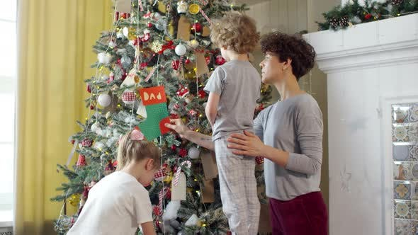 Thumbnail for Mother and Kids Decorating Christmas Tree Together