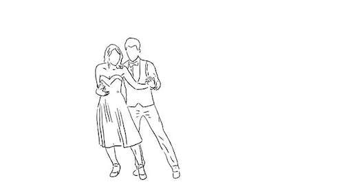 Couple dansant dessiné à la main sur fond transparent