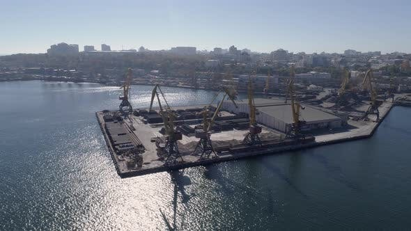 Thumbnail for Top View of Trade Sea Pier with Containers and Lifting Cranes on Sea Quay Against City