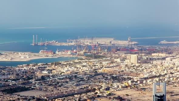 Thumbnail for Dubai Dry Docks Shipyard Aerial Timelapse