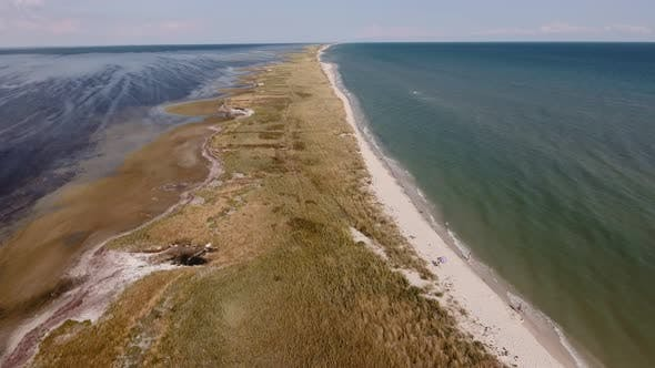 Thumbnail for Aerial Shot of a Direct Sand Spit at the Black Sea Shallow on a Sunny Day in Summer