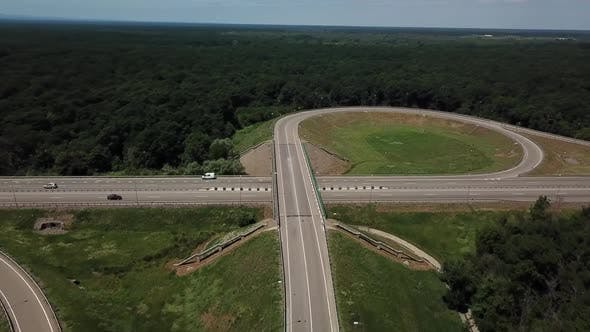 Thumbnail for Aerial View of Highway Road Junction in the Countryside with Trees