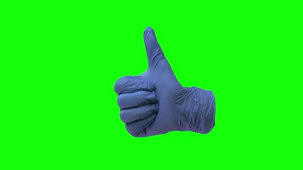Thumbnail for Doctors Hand in Blue Glove Is Holding Thumb Up Making Gestures Like. Green Screen. Close Up