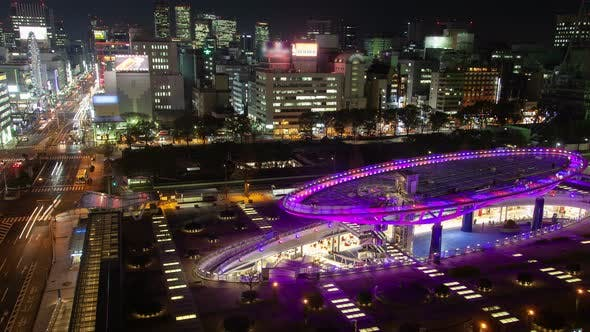 Thumbnail for Nagoya Attraction Park Oval Purple Square at Night