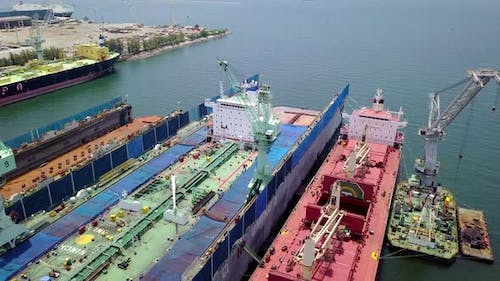 Aerial View Logistics Concept Floating Dry Dock