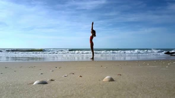 Thumbnail for Girl Does Yoga Changing Positions Against Wavesurf