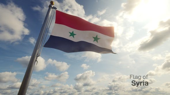 Syria Flag on a Flagpole