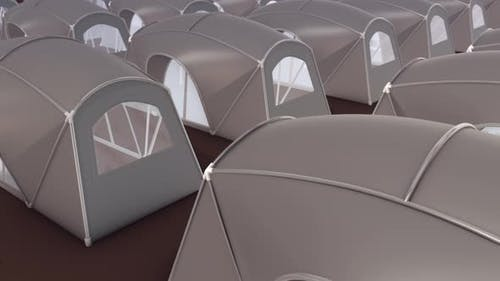 Multiple Big Camping Tents In A Row 4k