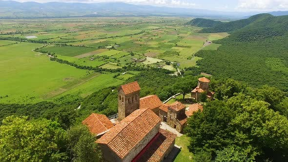 Thumbnail for Breathtaking aerial shot of ancient Nekresi monastery complex and valley