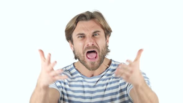 Thumbnail for Angry Man Yelling on white Background