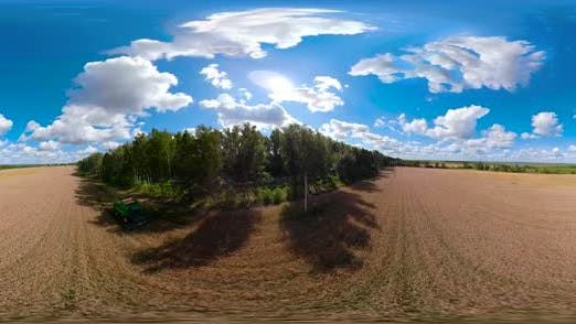 Thumbnail for Combine Harvester on Wheat Field VR360