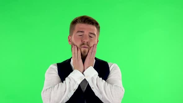 Thumbnail for Man Got a Cold, Sore Throat and Head, Cough on Green Screen