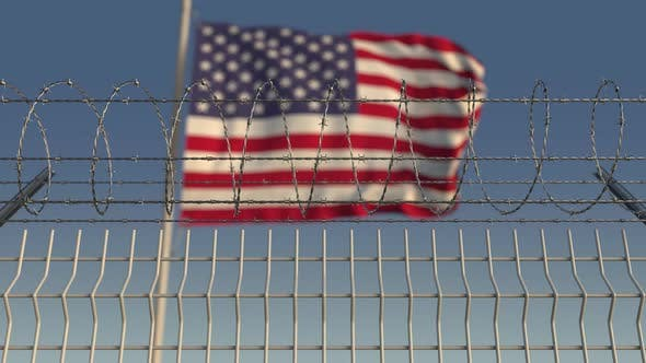 Thumbnail for Flag of the United States Behind Barbed Wire Fence