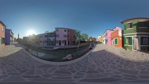 Thumbnail for 360 VR Traditional Houses Along Canal and Leaning Bell Tower in Burano, Italy