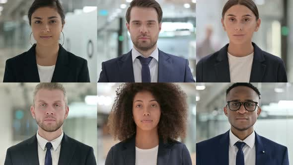 Collage of Serious Young Business People Looking at the Camera