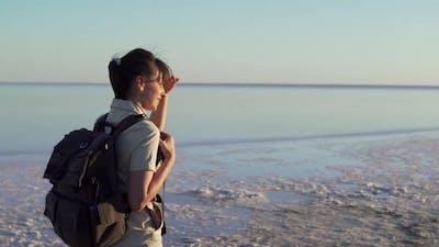 Woman Traveler Walks