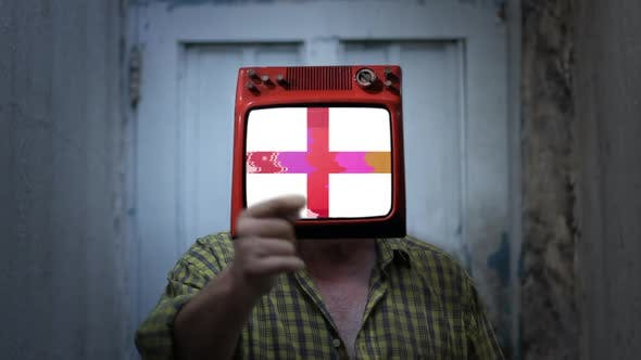 The flag of England on the TV Head of a Man.