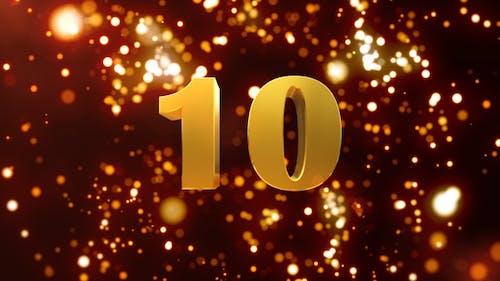 Golden Particles Countdown 10 Seconds