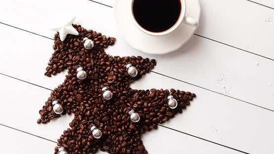 Thumbnail for Beans in Shape of Fir and Cup of Coffee