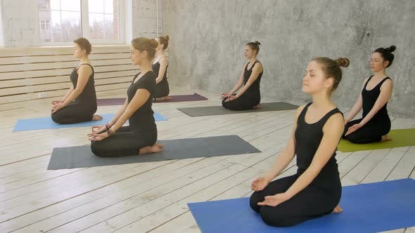 Group of Young Women Practicing Yoga, Sitting on Yoga Mat
