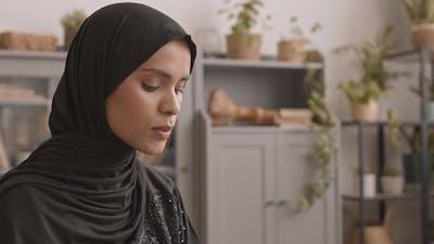 Close-Up of Muslim Woman Praying