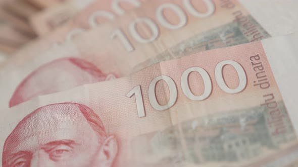 Thousands in    Serbian banknotes  close-up 4K 2160p 30fps UltraHD  panning  footage - Denominations