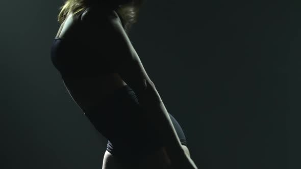 Thumbnail for Delicate Contemporary Contemporary Choreography By a Flexible Sexy Woman Dancing in the Dark Against