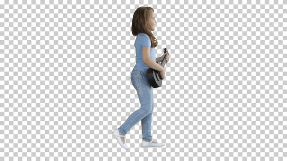 Thumbnail for Cute Little Girl Walking and Singing While Playing on Ukulele