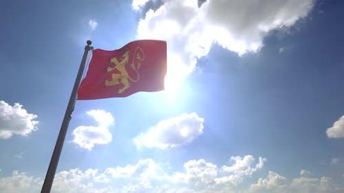 Valletta City Flag on a Flagpole V4