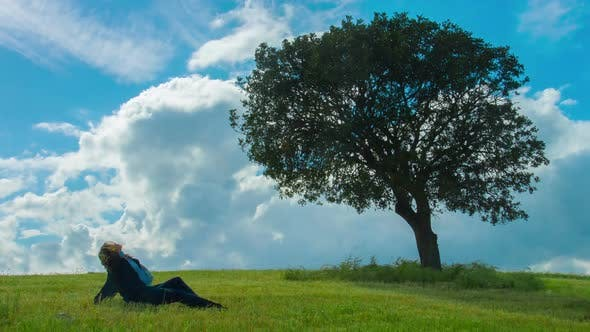 Thumbnail for Beautiful Brunette Female Under Tree, Upset Woman Sitting Alone on Green Grass