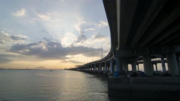 Timelapse ray over Penang Bridge.