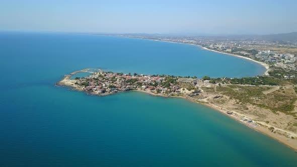 Thumbnail for Side, Mediterranean Sea Coast, Touristic Beach of Peninsula, Antalya, Turkey