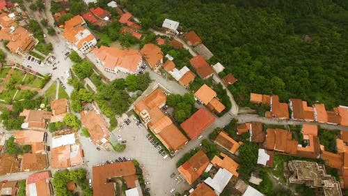 Fantastic view of rooftops in Signagi town and Alazani valley, ecotourism