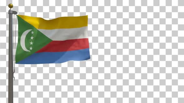 Thumbnail for Comoros Flag on Flagpole with Alpha Channel