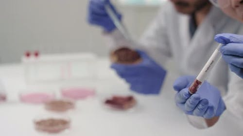 Test Tube With In Vitro Meat